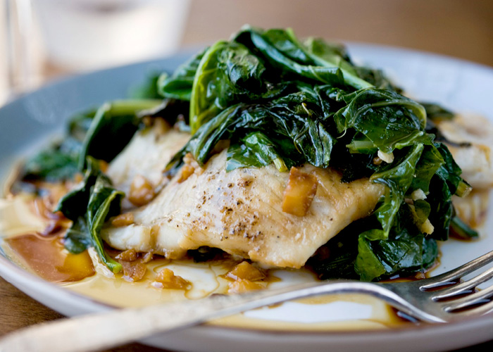 Steamed Flounder with Spinach